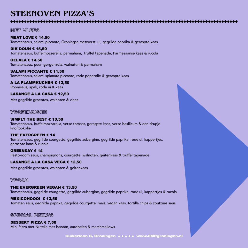 Menukaart houtoven pizza's